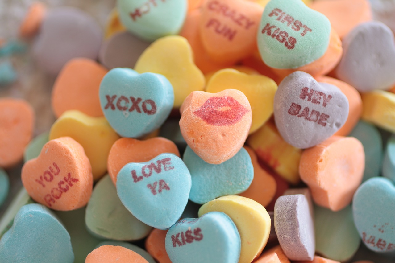 candy, hearts, conversation
