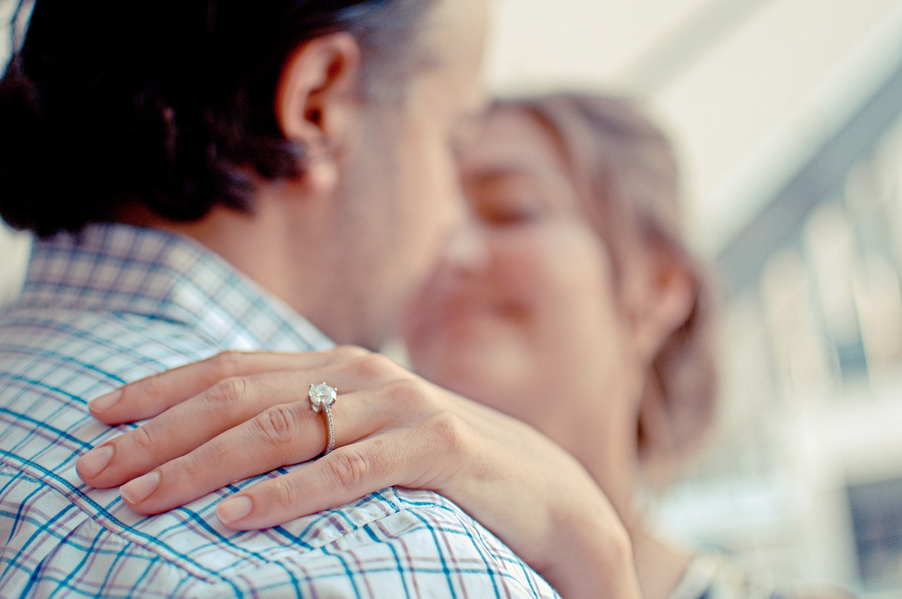 couple, engagement, ring